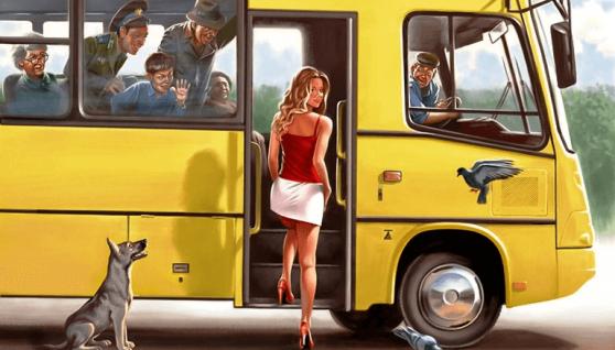 Коли автобус зупинився, і настала черга жінки заходити, вона зрозуміла, що її спідниця надто вузька, щоб вона могла підняти ногу на висоту першої сходинки автобуса